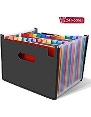 LOETAD Clasificadores Carpetas de Acordeón Carpeta Archivadora Extensible Portátil Organizador Documentos para A4 con 24 Compartimientos Gran Capacidad