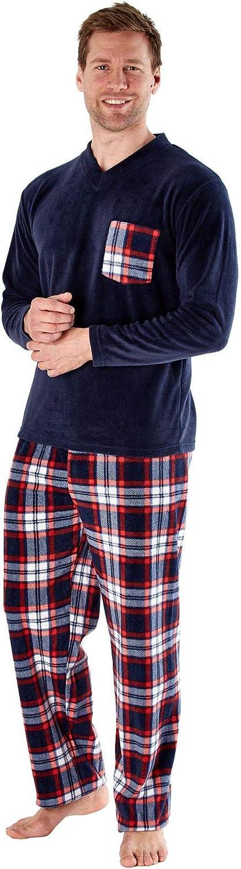 i-Smalls Mens Check Fleece V Neck Pyjamas Long Sleeve Nightwear
