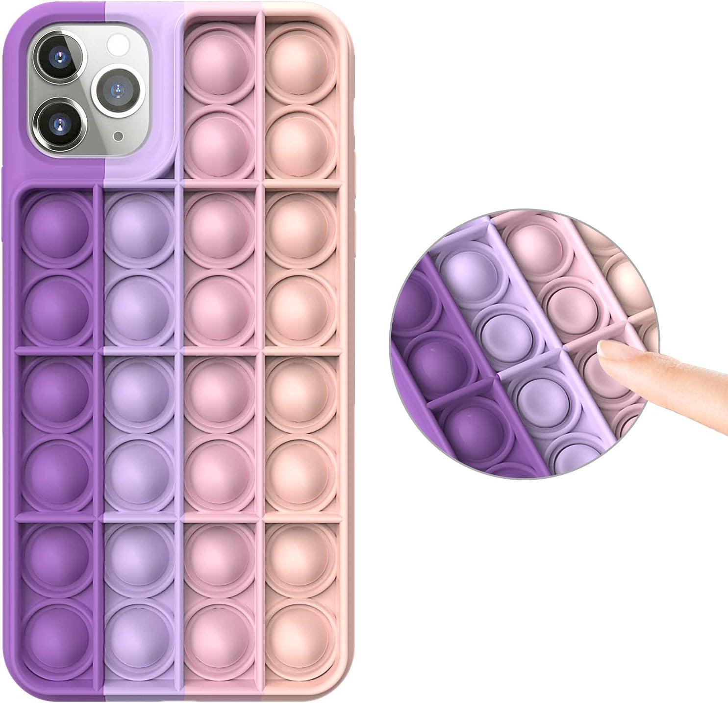 Fidget Toys Case for iPhone 8/7/se2020/8Plus/7Plus/X/XS/XS Max/XR /11 6.1/11 PRO MAX /12/12 Pro/12 Pro Max,Push Bubble Soft Silicone Pop Shockproof Protecive Case for iPhone