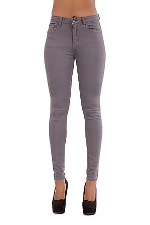Damen Röhrenjeans Hohe Taille Graue Denim Jeans Damen Slim Fit Comfy Denim  Hosen-EU 34