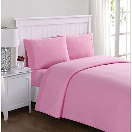 Amazoncom Truly Soft Solid Jersey Pink Twin Xl Sheet Set Home