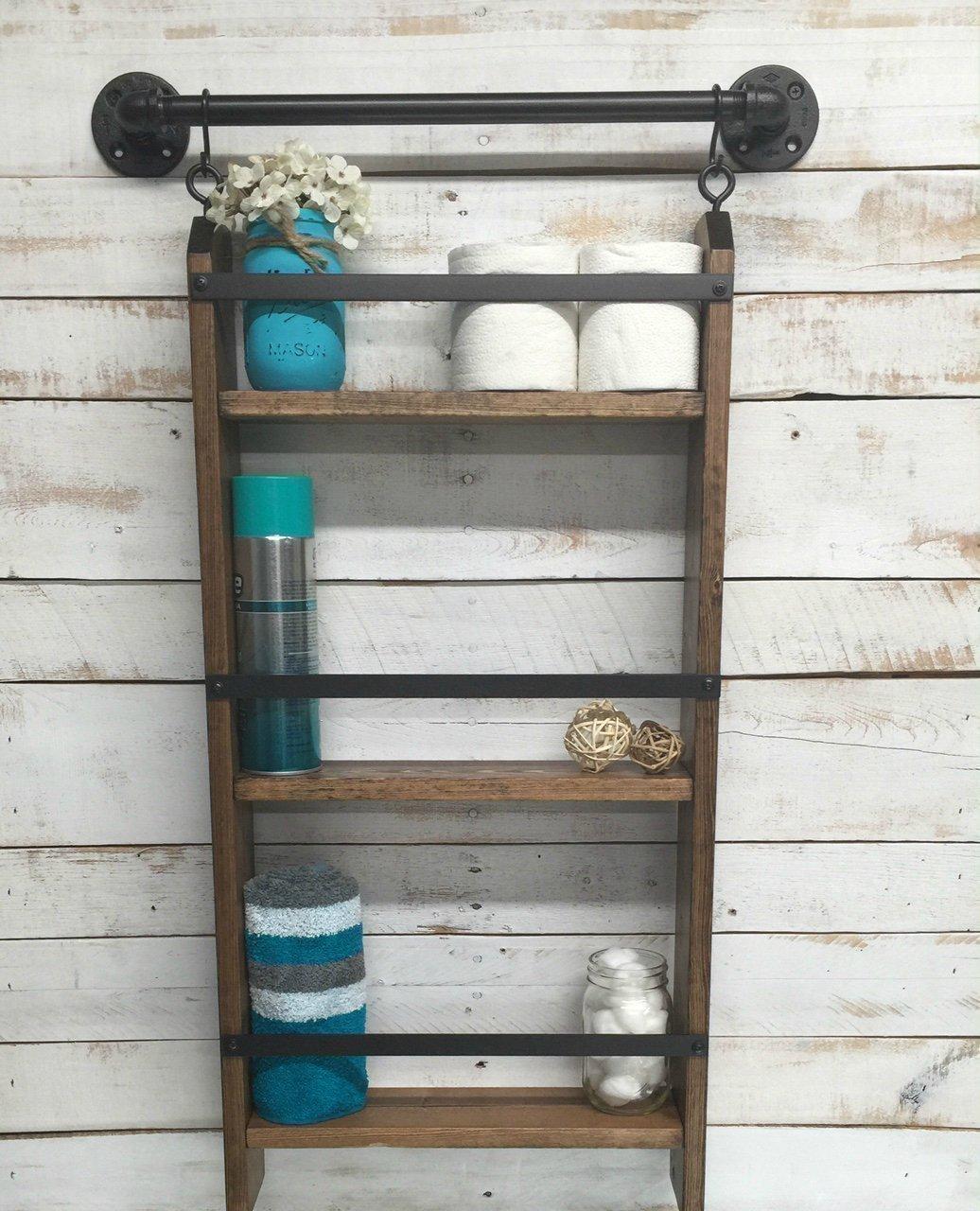 online retailer 791a6 e7ddf Bathroom ladder shelf, rustic bathroom shelf, industrial shelf, farmhouse  shelf, cottage chic, home décor, shelf w/pipe towel bar