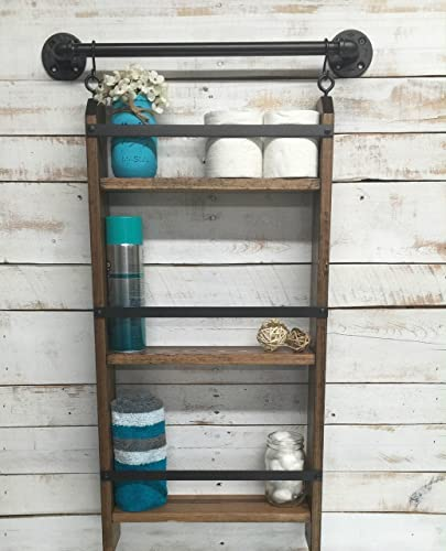 Superb Bathroom Ladder Shelf Rustic Bathroom Shelf Industrial Shelf Farmhouse Shelf Cottage Chic Home Decor Shelf W Pipe Towel Bar Interior Design Ideas Clesiryabchikinfo