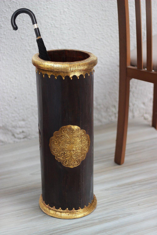 Wooden Umbrella Stand Rack Holder with Black & Gold Floral Design Antique Handmade Walking Canes Stand Storage Organizer Holder Entryway Hallway Home Decorative 22 Inches by Store Indya