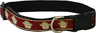 "product image for Monkey Pattern Canvas Hemp Dog Collar (3/4"" Small, Garnet)"
