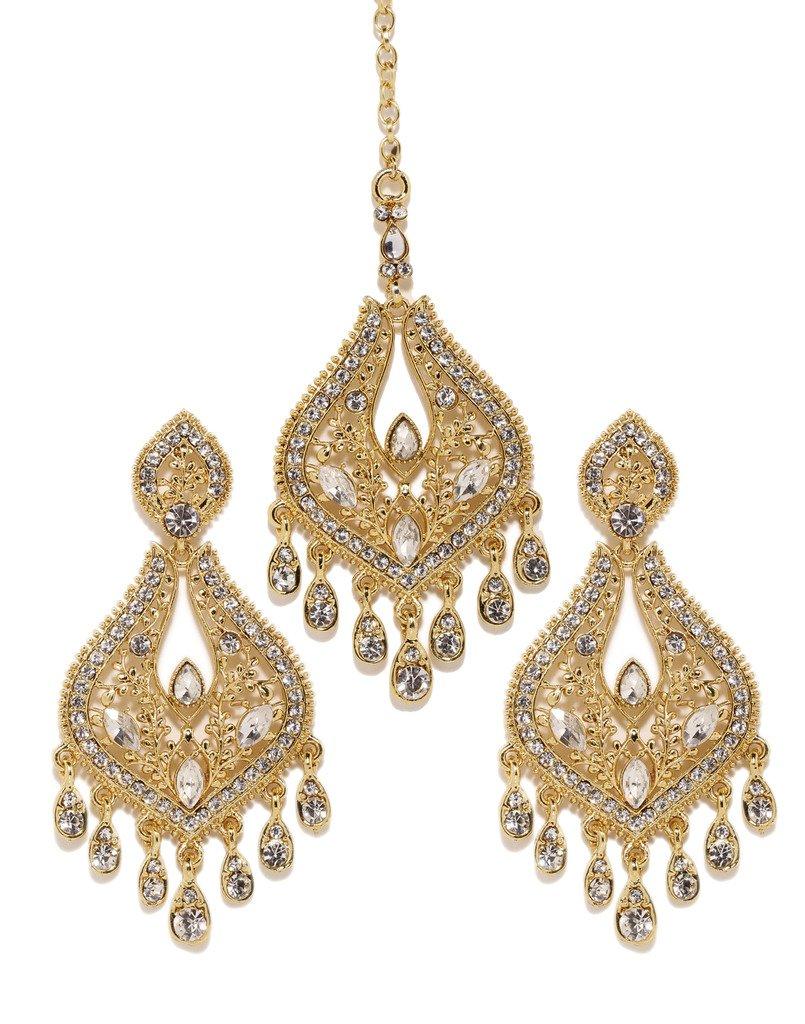 Bindhani Wedding Indian Pakistani Style Head Jewelry Cubic Zirconia Maang Tikka Earrings Set For Women