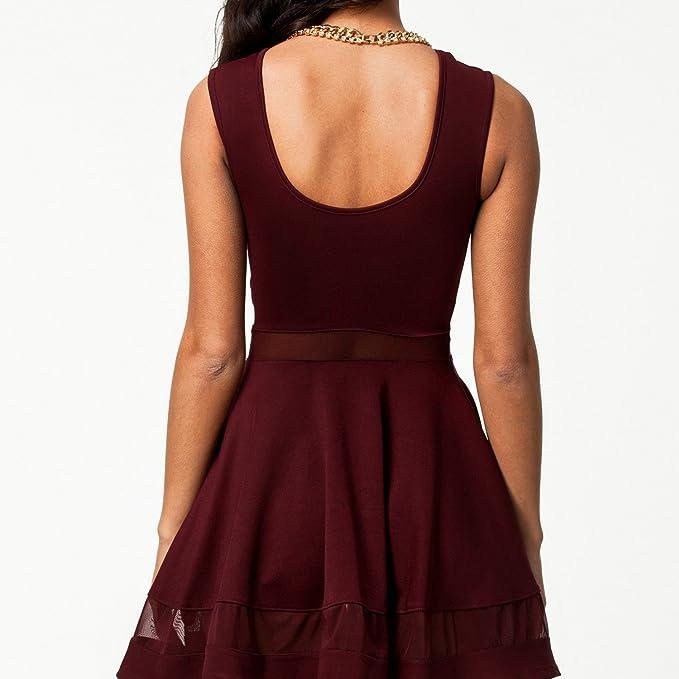 Kleid - TOOGOO(R) Sommer reizvolle Gitter Ausschnitt herzfoermiger  Ausschnitt aermellos Kleid weinrot L: Amazon.de: Bekleidung