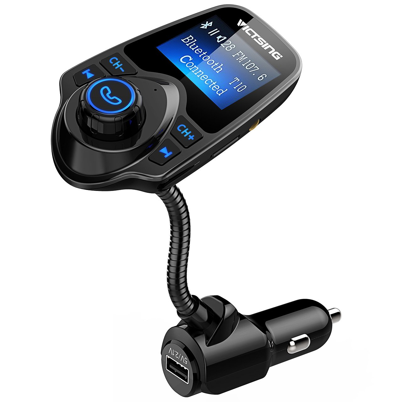VicTsing Bluetooth FM Transmitter, Wireless in-Car Radio Transmitter Adapter/w USB Car Charger AUX Input 1.44 Inch Display TF Card Slot-Pure Black