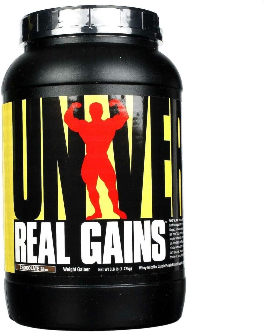 Real Gains Weight Gainer with Complex Carbs and Whey-Micellar Casein Protein Matrix Chocolate 3.8#