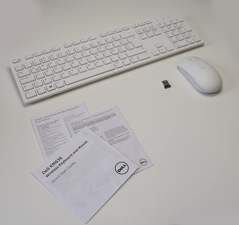 New 5T11R Wireless BRANCO Keyboard WK636/p Mouse MWM116p Receiver DGRFEO Combo WHITE Combinação de teclado sem fio externo ARGENTINA CARIBBEAN Desktop USB ...