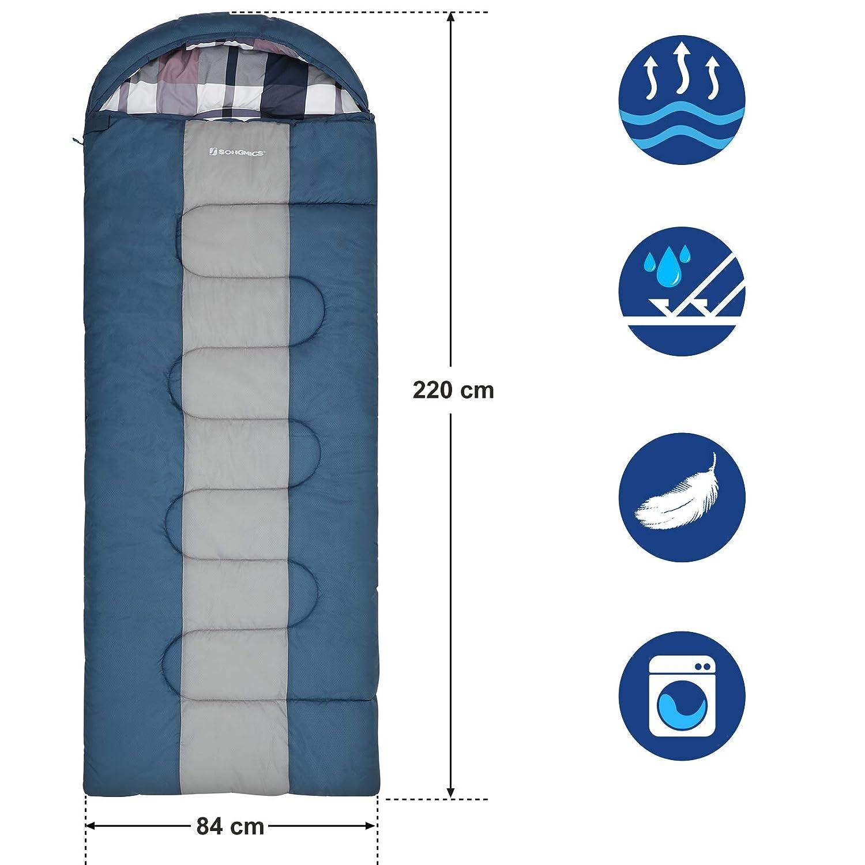 L/éger et Compact 220 x 84 cm 3-4 Saisons Temp/érature de Confort:5-15/°C SONGMICS Large Sac de Couchage avec Sac de Compression Portable pour Le Camping la Randonn/ée