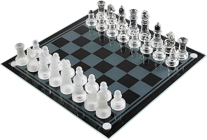 Zatiki Glass Chess Set, Glass Chess Board, Glass Chess Sets for Adults, Modern Chess Set - 8 Inch - Glass Chess Pieces, Crystal Chess Set, Clear Chess Set, Frosted Chess Set, Glass Board Games