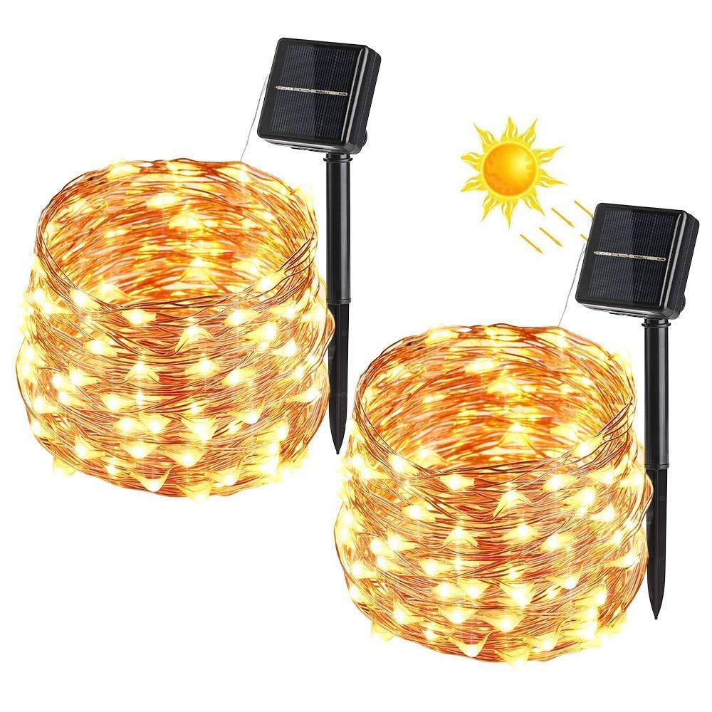 Imperm/éable pour terrasse Maison 100 LED 8 modes Lampes solaires ext/érieures, Lampes solaires de jardin Two packs-Warm Yellow-14 Mariage