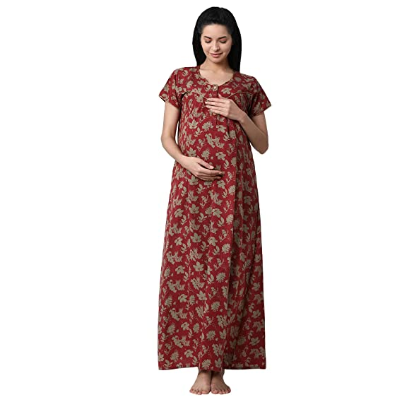 GOLDSTROMS Minelli Women s Cotton Fabric Maternity Gown with Feeding Access  Red d70f19498