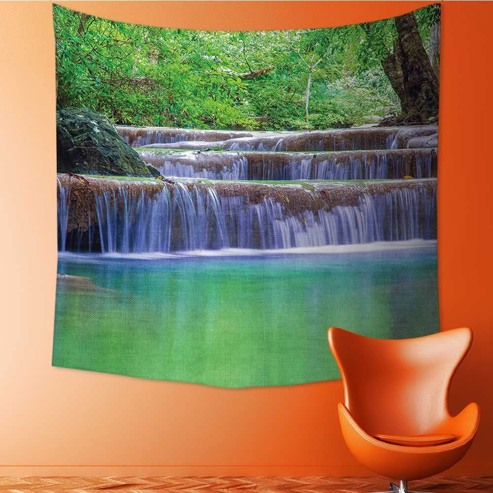 Nalahomeqq Natural Waterfall Decor Collection Fairy Step Cascade Waterfalls Pours Into Crystal Clear Lake Exotic Tropical Microfiber Fabric Drawing Room Custom Tapestry Green Brown 40 W X 60 L Inch Amazon Co Uk Kitchen