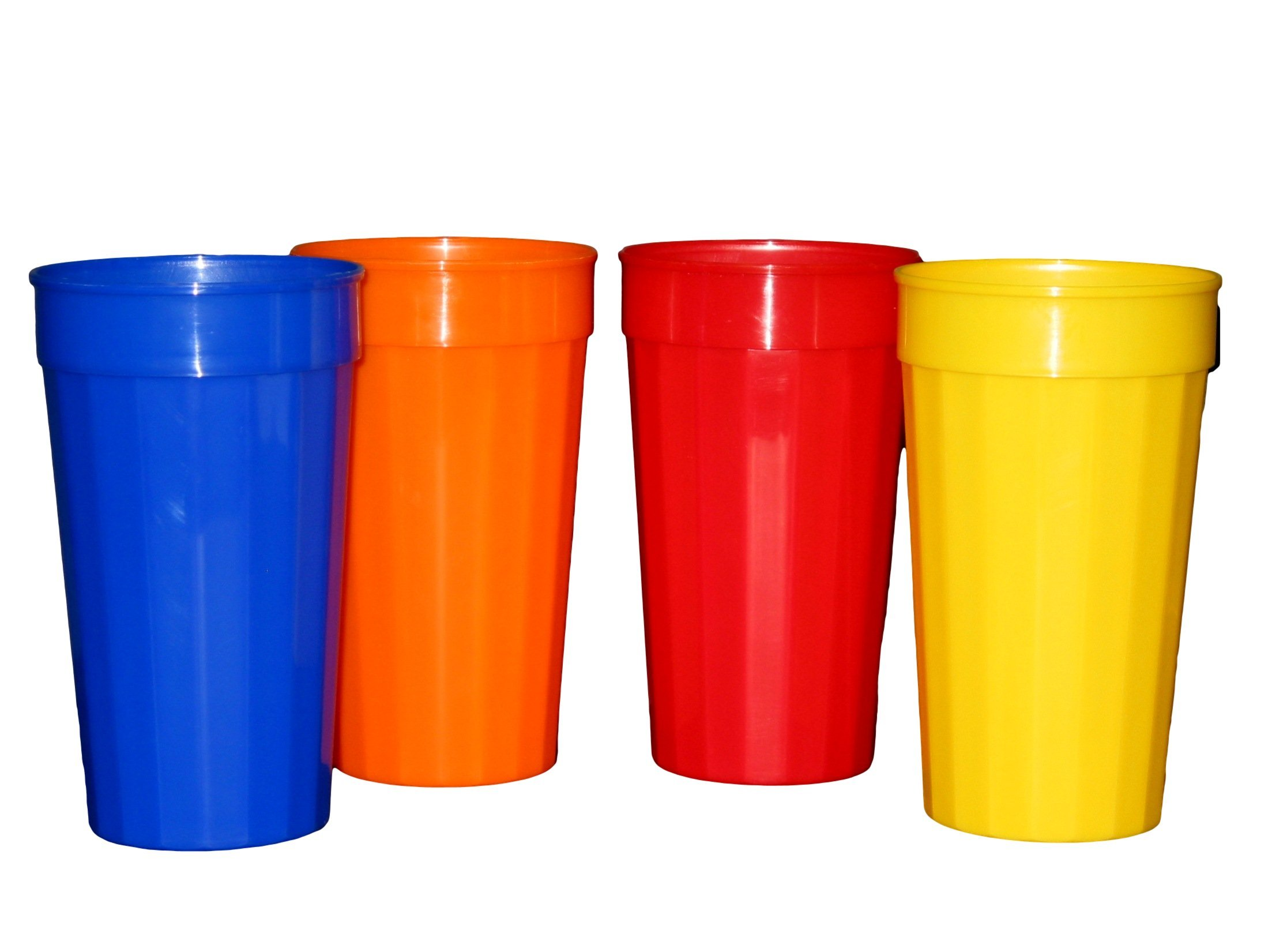 Plastic Fluted Drinking Tumblers, Large 32 Ounce, Pack 12 (3 Each Red, Blue, Orange, Yellow,