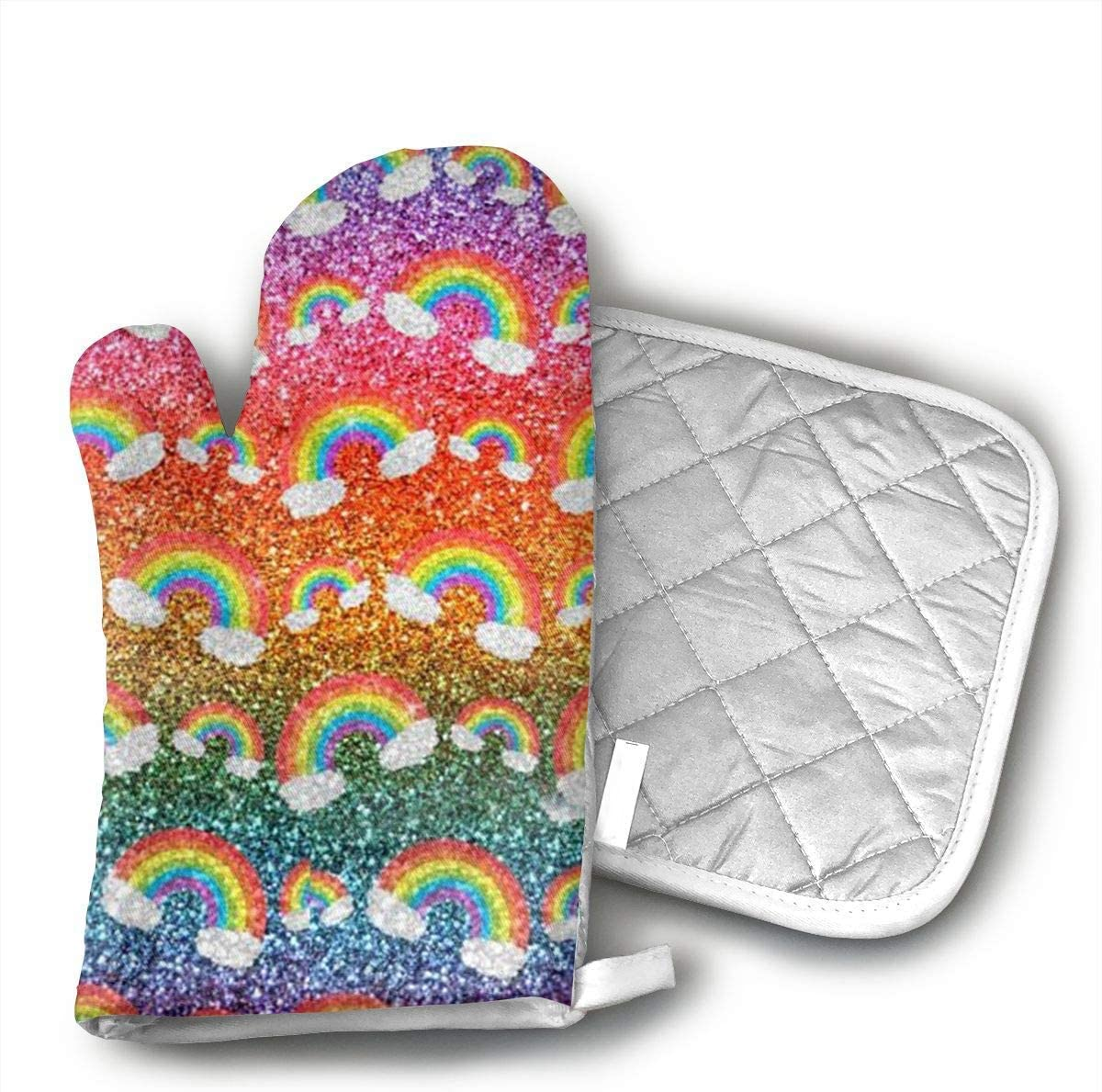 NoveltyGloves Faux Glitter Rainbows Oven Mitts,Professional Heat Resistant Microwave BBQ Oven Insulation Thickening Cotton Gloves Baking Pot Mitts Soft Inner Lining Kitchen Cooking