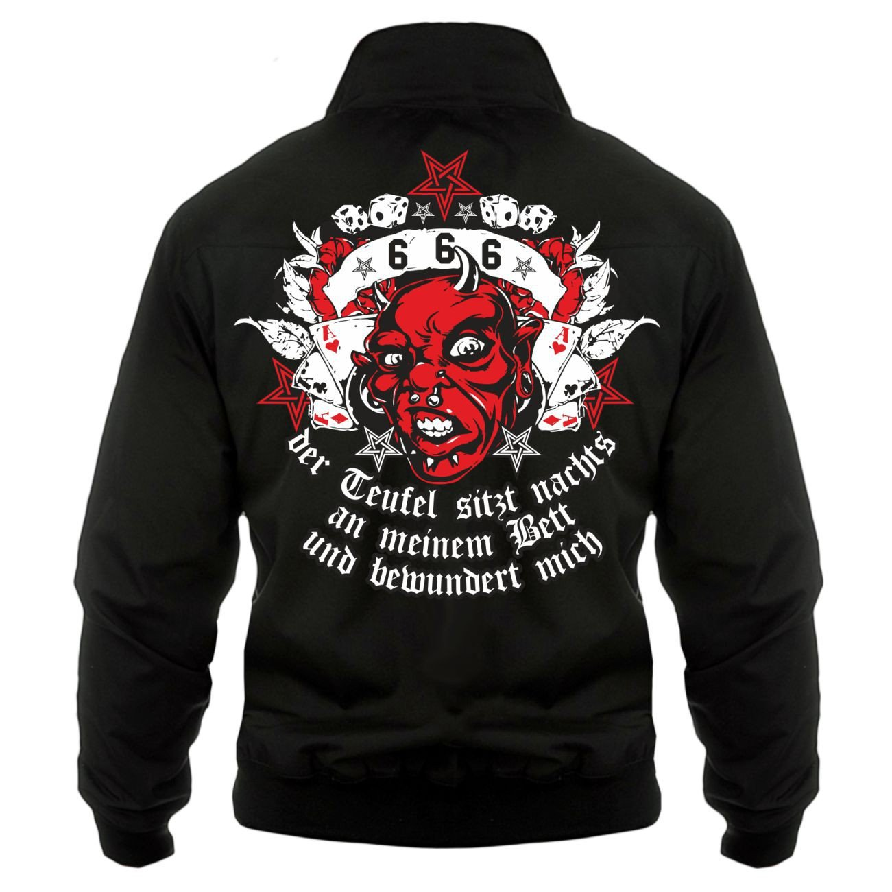 Männer und Herren Harrington Jacke Der Teufel sitzt nachts an Meinem Bett (mit Rückendruck) Größe S - 5XL 56858