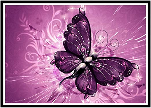 5D diamond painting kits full drill,DIY 5D Diamond Painting Kits Rhinestone Crystal Embroidery Pictures Cross Stitch Art Craft for Home Decor Butterfly 40x30cm