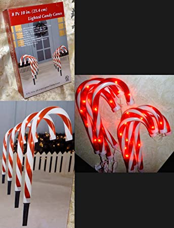 Amazon 8 pc lighted candy canes 10 tall pathway markers string 8 pc lighted candy canes 10quot tall pathway markers string lights mozeypictures Gallery