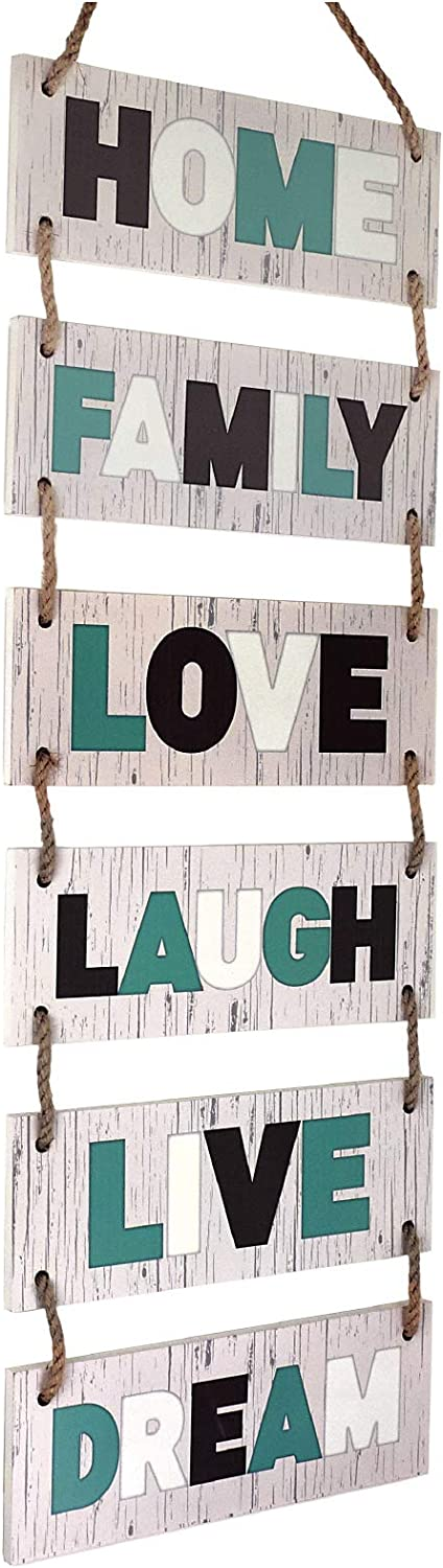 "Excello Global Products Large Hanging Wall Sign: Rustic Wooden Decor (Family, Home, Love, Laugh, Live, Dream) Hanging Wood Wall Decoration (11.75"" x 32"")"