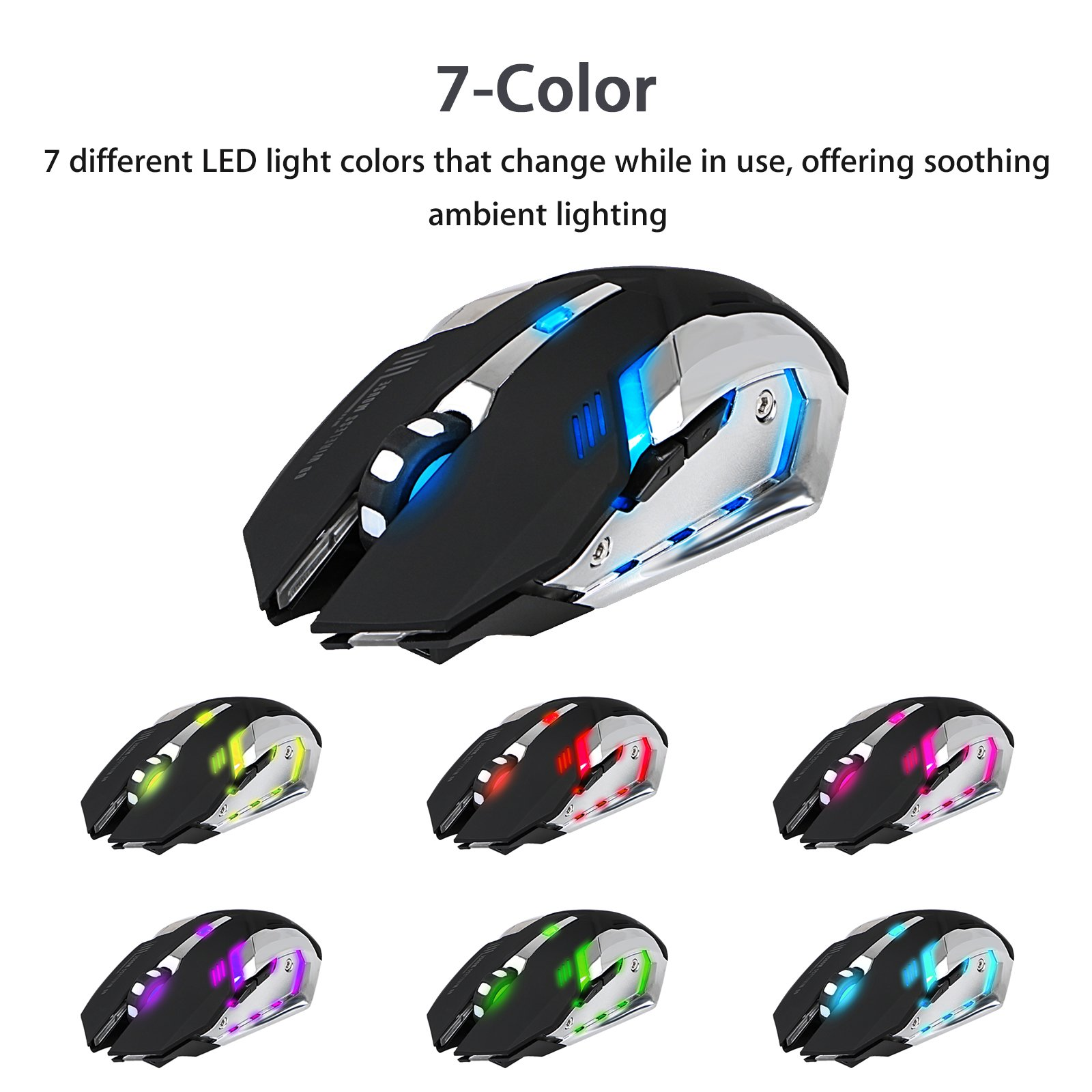 Wireless Optical Gaming Mouse with USB Receiver LinkStyle Color Changing Wireless Laptop Mouse, Rechargeable Game Mice with 4 Adjustable CPI Levels for PC, Laptop, Computer, Macbook & Gaming Players by LinkStyle (Image #2)