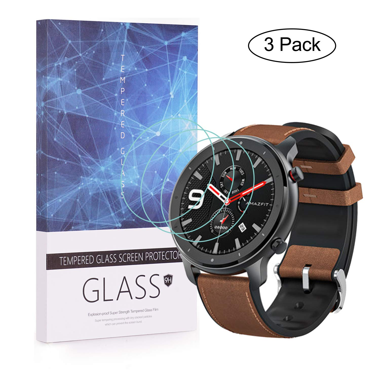 BECEMURU Protector de Pantalla Amazfit GTR, 9H Protector de Pantalla de Vidrio Templado de Cobertura Completa para Amazfit GTR Smartwatch (3 ...