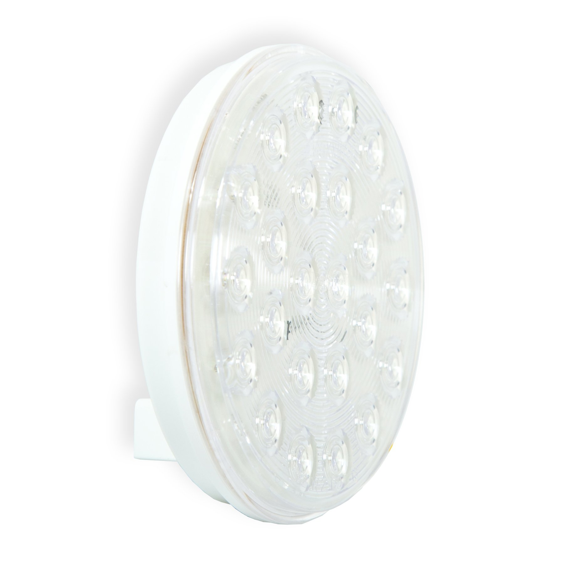Maxxima M42701WCL 24 LED White Clear Lens 4'' Round LED Warning Flasher Light