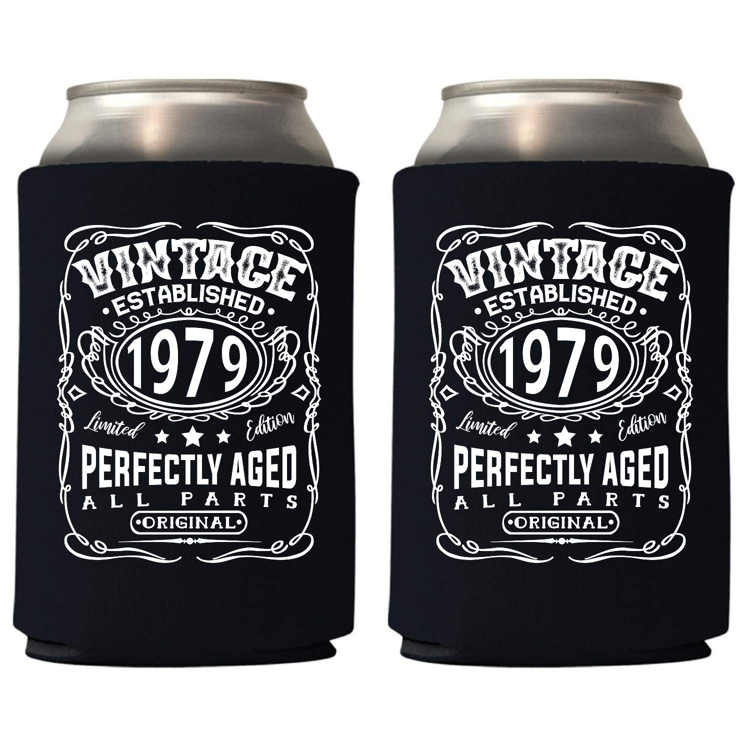 Veracco Vintage Established 1979 Perfectly Aged Can Coolie Holder 40th Birthday Gift Forty and Fabulous Party Favors Decorations (48, Blk, 1979) by Veracco