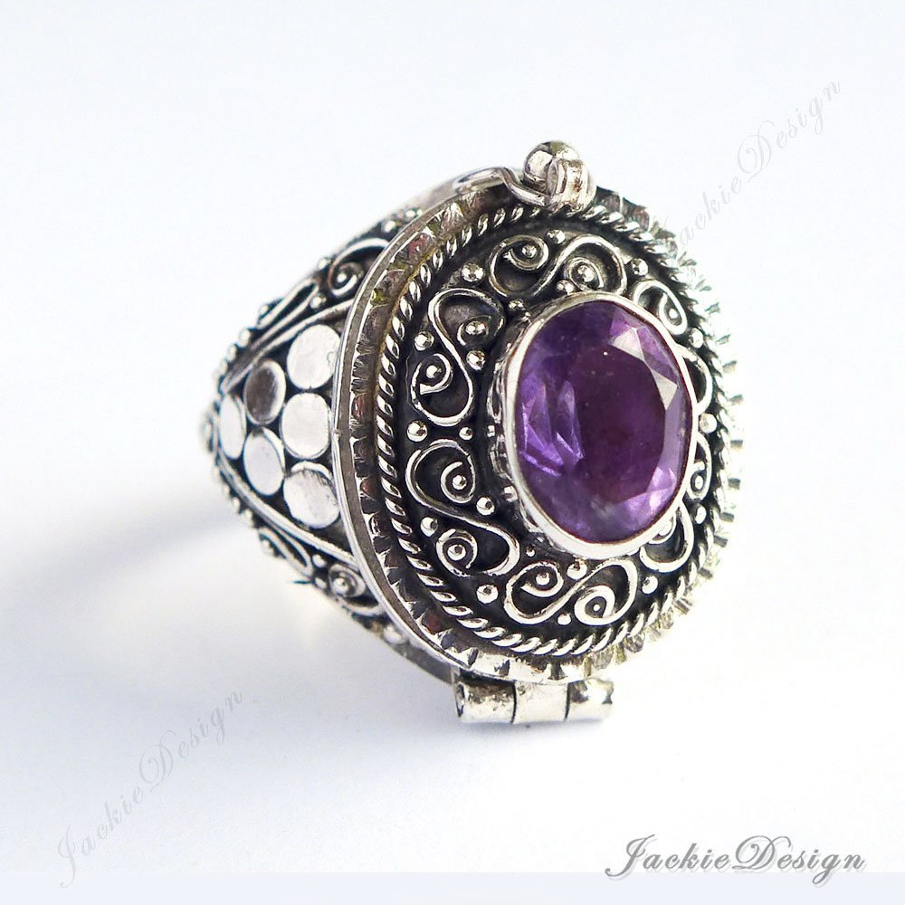 Purple Amethyst Size 6 7 8 9 Poison Ring Locket Bali Sterling Silver Secret Compartment Jewelry