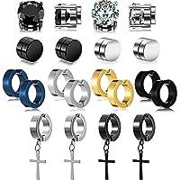 10 Pairs Magnetic Stud Earrings Stainless Steel Magnetic Earrings, Non-Piercing Cross Dangle Hoop Earrings Unisex Gauges…