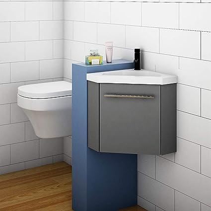 400mm Grey Cloakroom Bathroom Corner Sink Vanity Unit With Door Small Amazon Co Uk Home Kitchen