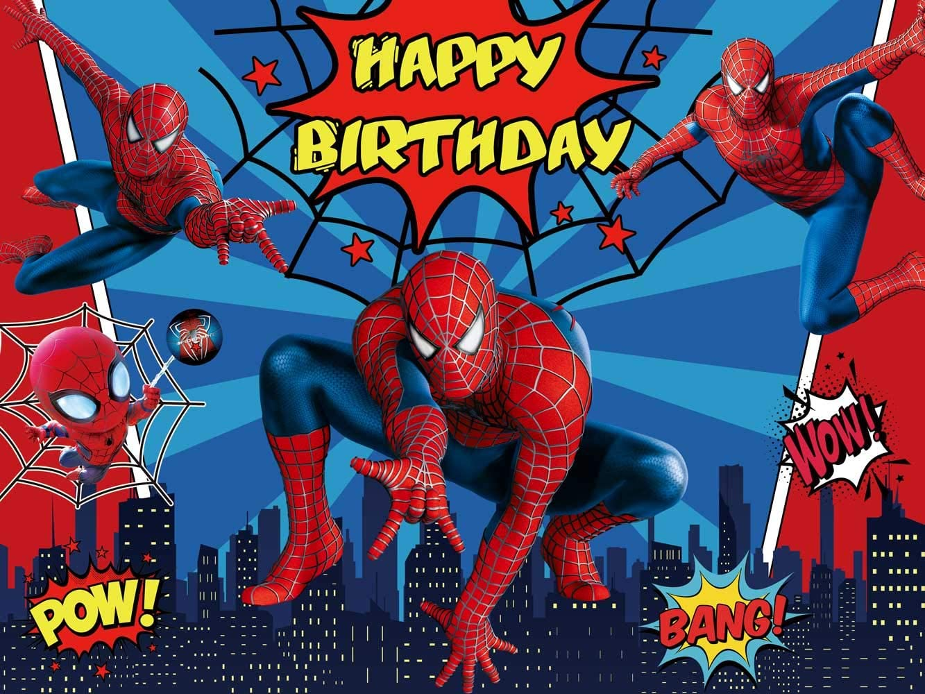 Spiderman Backdrop Marvel Birthday Banner Superhero Background Boys Party Supplies Kids Banner Photography Decorations Party Supplies Toys Games