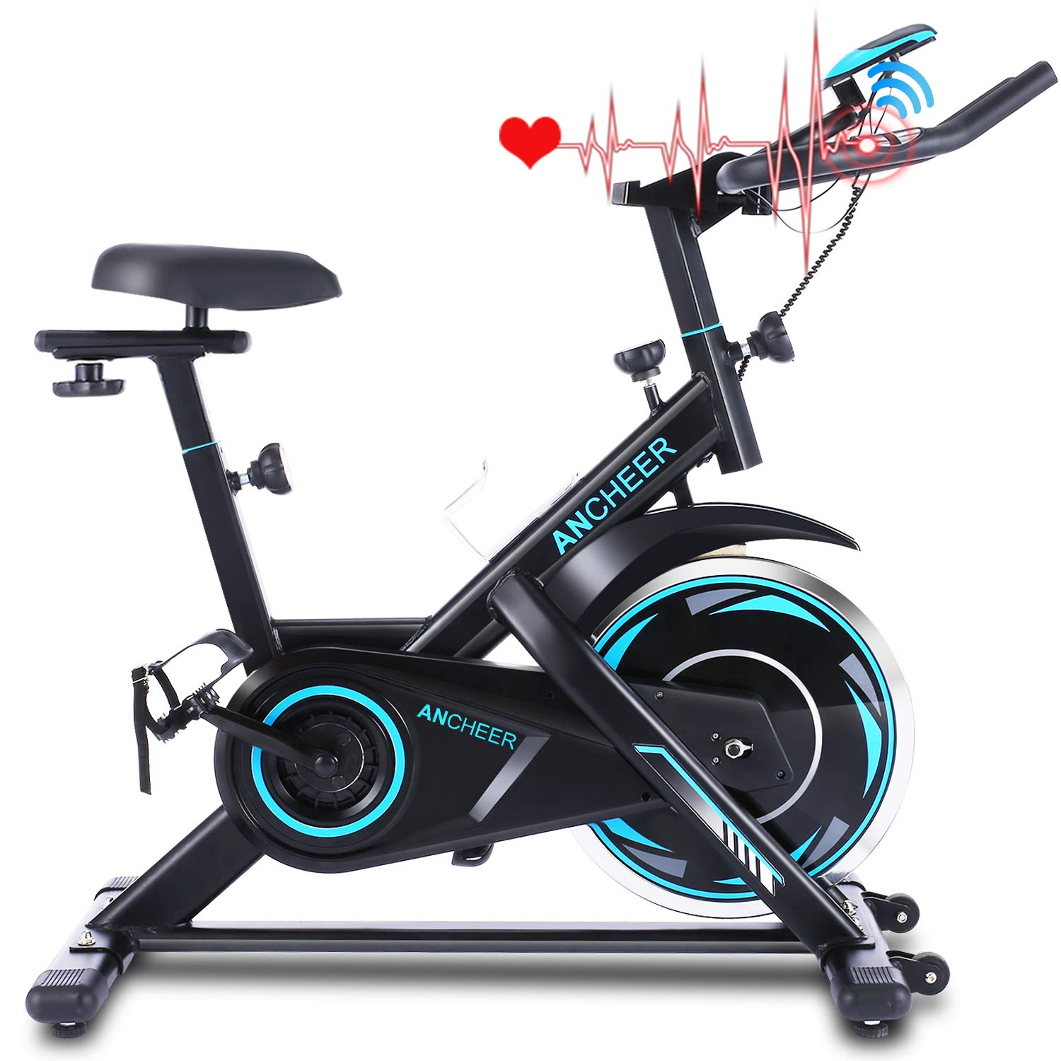 ANCHEER Indoor Cycling Bike Stationary, Belt Drive Exercise Bike with Comfortable Seat Cushion, Workout Bikes with Heart Rate Sensor and LCD Monitor, for Home Office Exercise