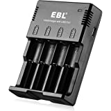 EBL Lithium Ni-MH Ni-CD Battery Charger with USB Port for Phone - iQuick Technology - 18650 14500 Li-ion AA AAA C Rechargeable Batteries