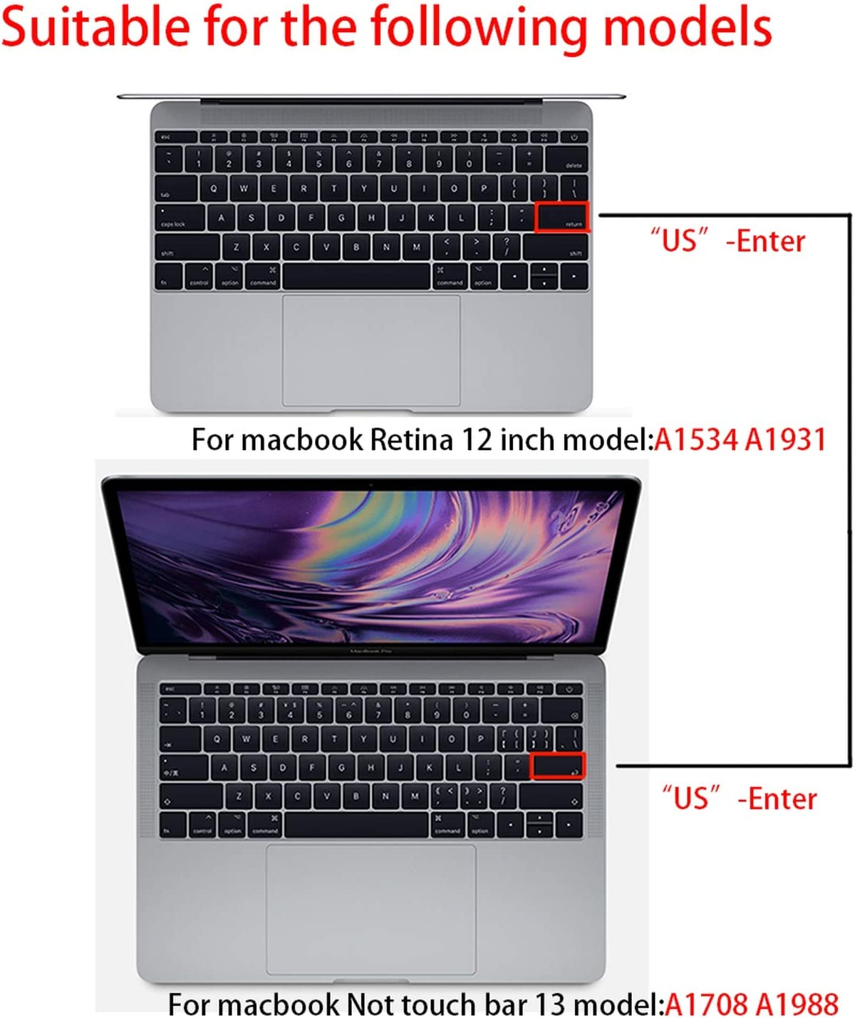 Korean Keyboard Cover for MacBook 13pro A1708 Retina 12 inch Laptop Keyboard Protective Film-Pink