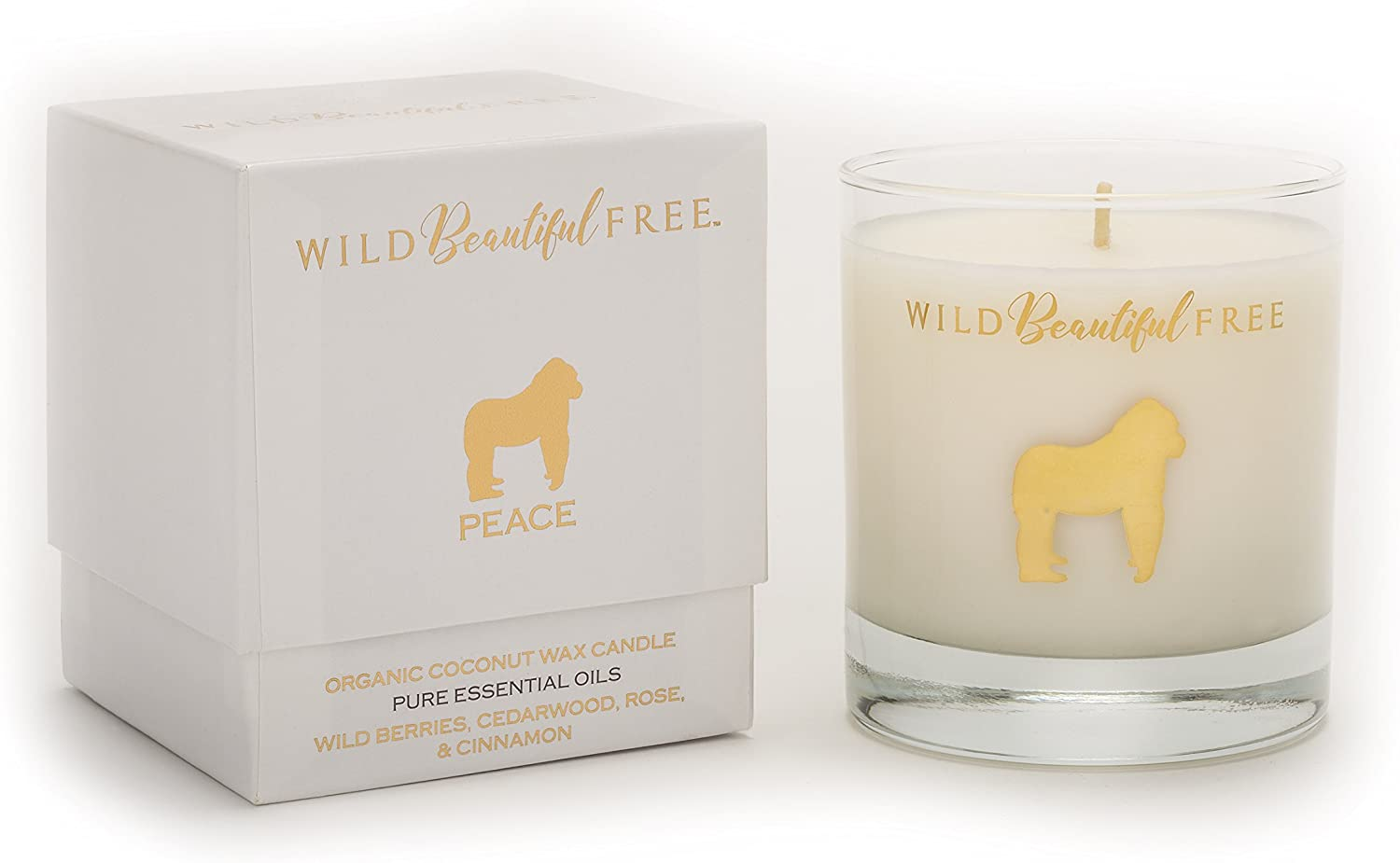 Wild Beautiful Free Wild Berry Rose and Winter Spice Organic Aromatherapy Candle with Pure Essential Oils for Balance and Anxiety Relief - Peace Gorilla Luxury Candle