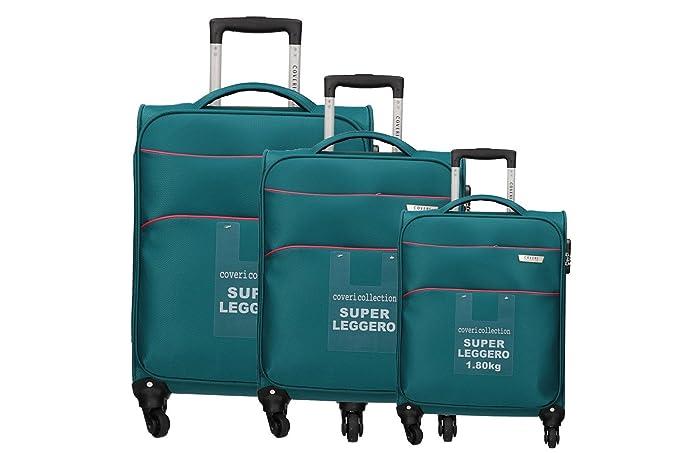COVERI COLLECTION 3 Maletas en tela set verde cabina para viajes ligero VS306: Amazon.es: Ropa y accesorios