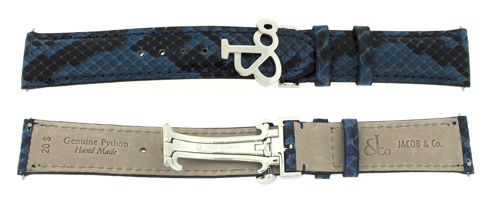 Jacob & Co. Genuine Real Python Blue Short Band Strap 20SMM For 40MM Watch