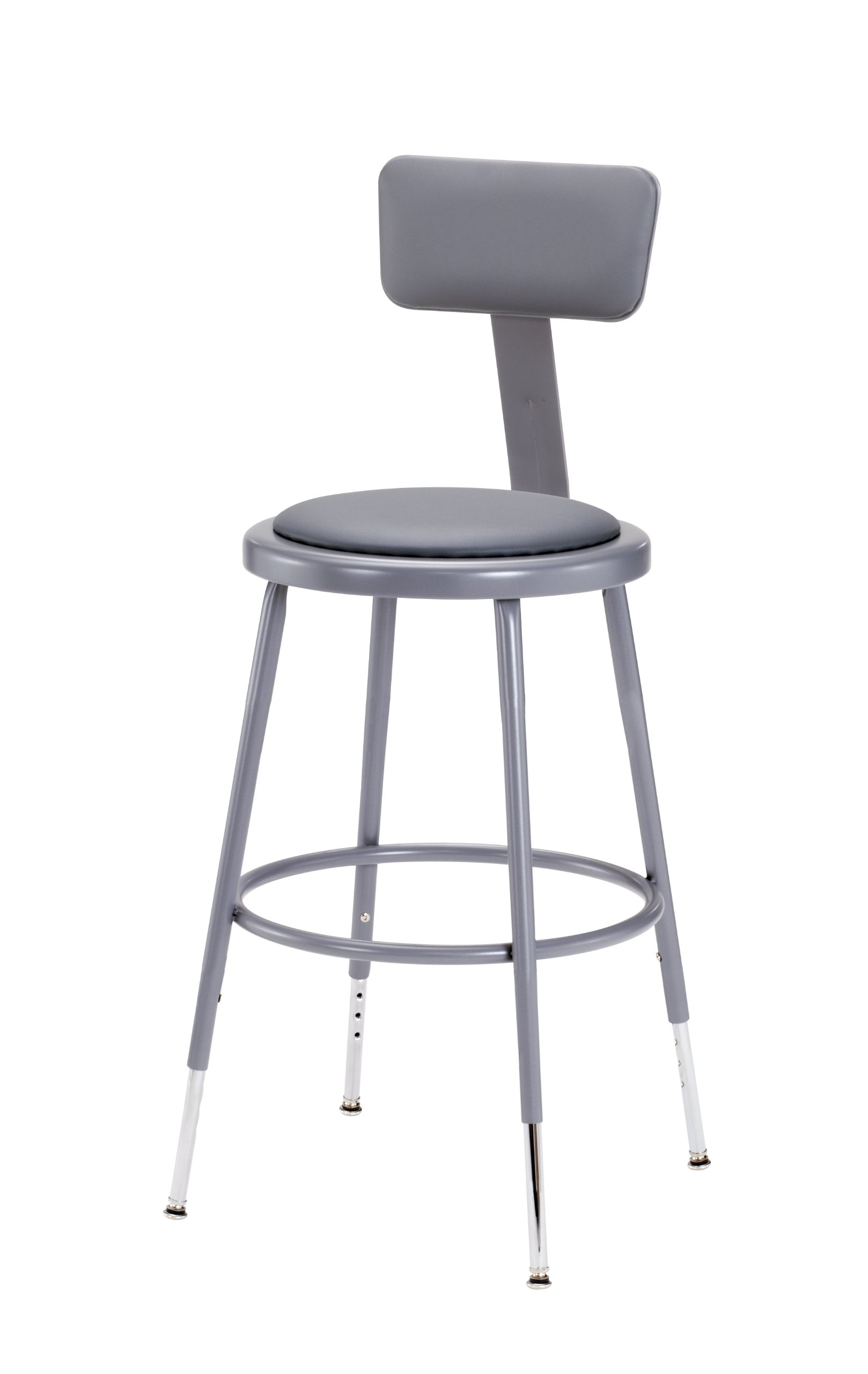National Public Seating 6418HB Grey Steel Stool with Vinyl Upholstered Seat Adjustable and Backrest, 19''-27''