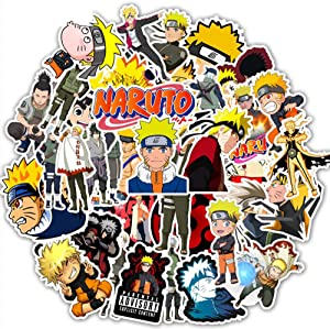 Naruto Anime Stickers, 50pcs Waterproof Vinyl Anime Decals for Water Bottle Laptop Car Bicycle Luggage Skateboard Computer, Gift for Teen Girls