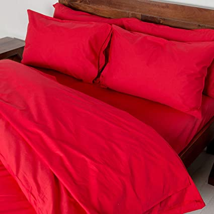 Red Super King Size Egyptian Cotton Percale Duvet Cover Set 400 Thread Count