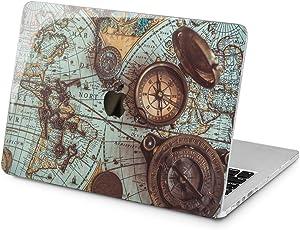 "Cavka Hard Shell Case for Apple MacBook Pro 13"" 2019 15"" 2018 Air 13"" 2020 Retina 2015 Mac 11"" Mac 12"" Adventure Map Ancient Vintage Cover Design Clock Protective Compas Print Plastic Laptop Antique"