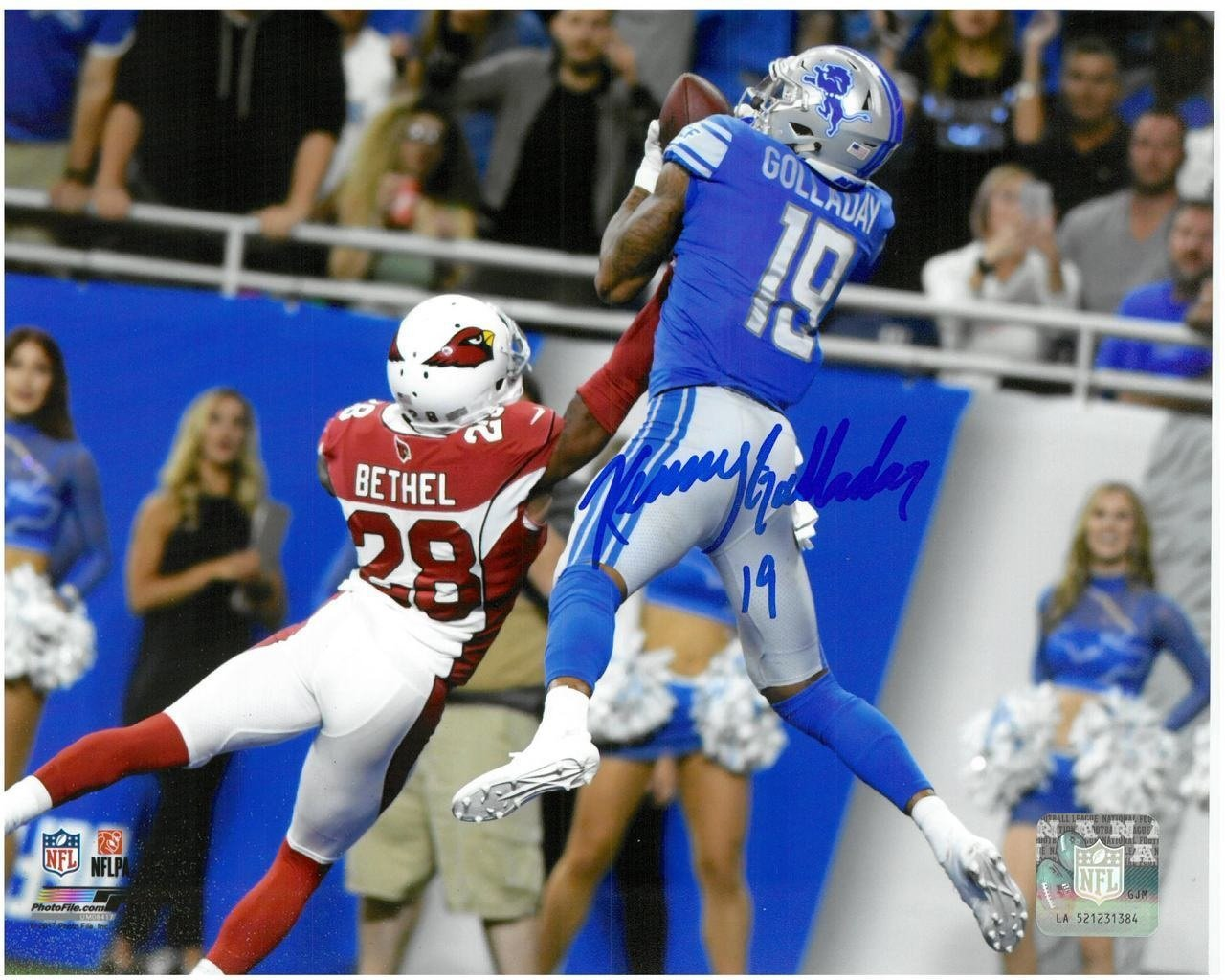 KENNY GOLLADAY AUTOGRAPHED DETROIT LIONS 8X10 #2 FIRST NFL TOUCHDOWN
