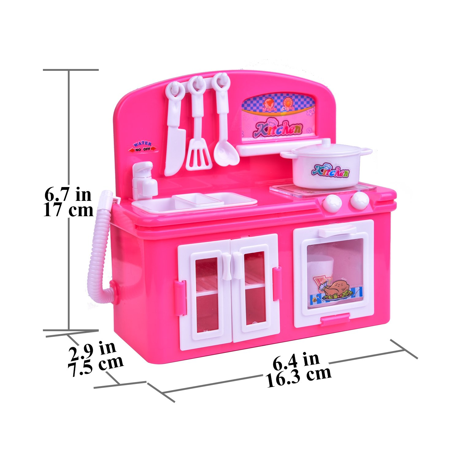 19 PCs Kitchen Appliance Toys with Kitchen, Refrigerator, Pot and Tableware, Pretend Play Set for Kids, Play Kitchen Appliance by FUN LITTLE TOYS (Image #7)