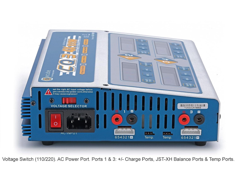 4x 10Amps//100Watts, 400Watts Total CQ3 AC//DC 4 Port Balancing Battery Charger w// 4 Screens LiPo LiHV LiIon LiFe NiCd NiMH Pb w// WARRANTY EV-Peak