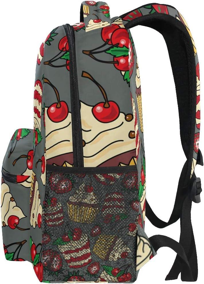 Backpack Fashion Laptop Daypack Strawberry Cherry Cake Pattern Travel Backpack for Women Men Girl Boy Schoolbag College School Bag Canvas