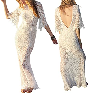 Sexy Lace Fringe Boho Open Back Wedding Beach Dress ~ Ivory (2X/3X,