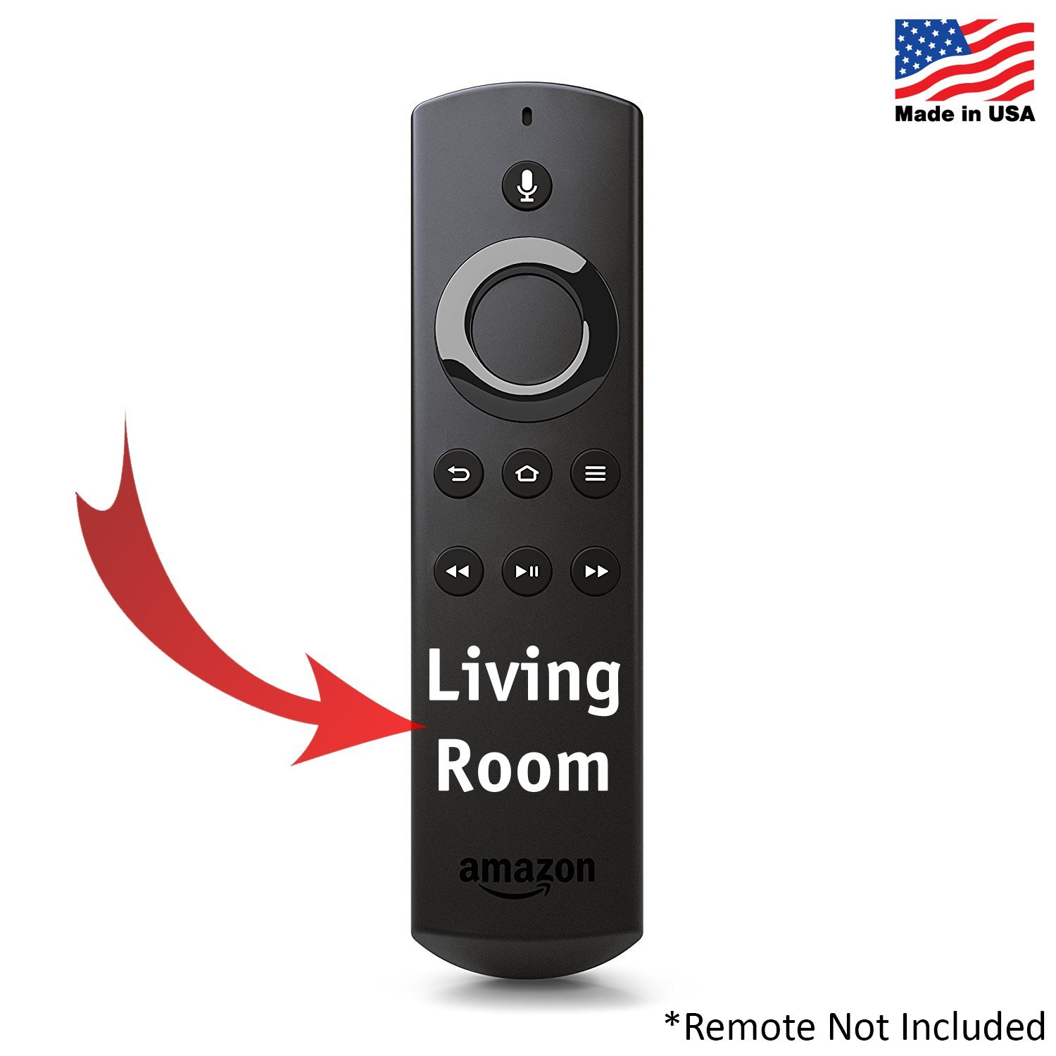 Custom Decal Label for Alexa Voice Remote for Amazon Fire TV and Fire TV Stick - Room Name