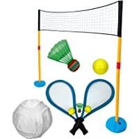 Grafix Gigantic 3 in 1 Garden Games Jumbo Sports Set Children Kids Summer Volleyball, Tennis & Badminton Outdoor Toy